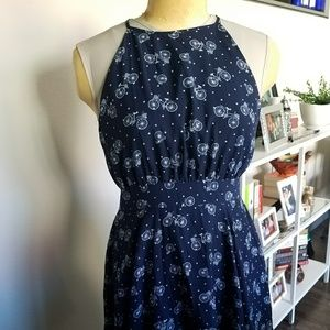 Fit and Flare pattern navy halter dress